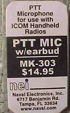 Earbud and PTT Mic for Icom and Alinco HT's HAM RADIO