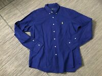 Ralph Lauren Adult Mens Large Button Down Shirt Blue (Yellow Pony)