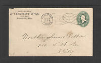 1899 CITY ENGINEERS OFFICE CITY HALL MINNEAPOLIS MINN ADVERTISING COVER