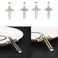 Unisex's Men Silver Stainless Steel Double Hollow Cross Pendant Necklace Chain