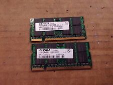 Lot of 2 Elpida 2 x 1GB 2GB DDR2 667mhz PC2-5300 2Rx8 Laptop RAM Memory SODIMM