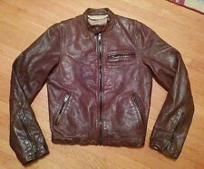 RUEHL ABERCROMBIE & FITCH CAFE RACER MOTORCYCLE JACKET M BROWN LEATHER BIKER