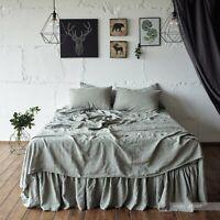 LINEN SHEET SET King Twin Queen 100% Stone Washed Linen 4pcs RUFFLE SLIP flax
