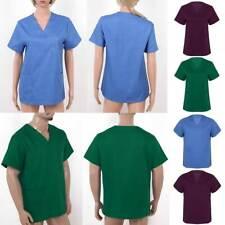 Unisex Medical Uniform Scrub Top Nurse Hospital Short Sleeves Workwear #S-XXL