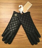 Michael Kors Women's Quilted Leather Tech Gloves Black Size M NWT
