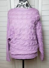 NEW Military Hippie Knitted Sweater Womens Small Purple Lavender Oversized Rose