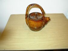 Small Vintage Brown, Glazed & Hand Painted  Tea Pot SIGNED JAMESON COPP (NATIVE)