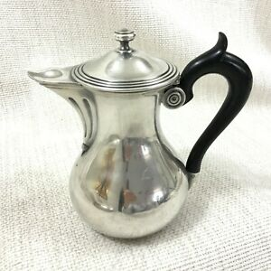 Antique French Christofle Silver Plated Jug Lidded Pitcher Ebony Wooden Handle