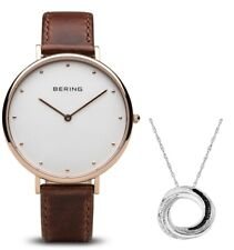 Bering Classic polished rose gold Womens Watch 14839-564 With Free Necklace Gift