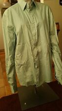 Mens H&M Dress Shirt Lime Green Sz L Large 41/42 16 1/2 Long Sleeve