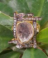 Amazing Designer Polki Ring Handmade Diamond Ring 925 Solid Silver Ring R-1719