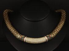 Brillant Rubin Saphir Smaragd Collier ca. 9,00ct    ca. 125g 750/- Gelbgold