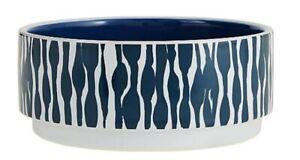 Top Paw® Blue & White Wave Ceramic Dog Bowl - (1) 26 oz Food & Water Dish