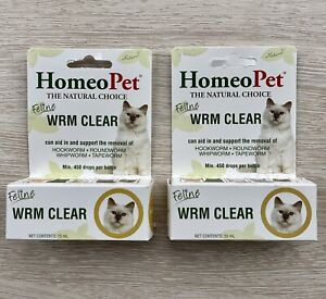 HomeoPet WRM CLEAR Lot Of 2 All Natural removal of Cat Worms Feline NEW
