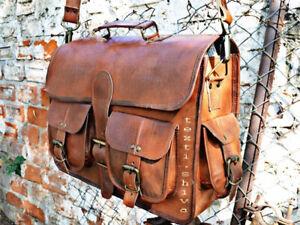 Large Vintage Retro Leather Women Messenger Satchel School Work Shoulder  Brown