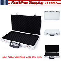 Aluminum Framed Gun Case Pistol Handgun Storage Locking Box Hard Carry Suitcase