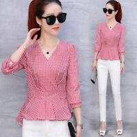 Fashion Fall Womens Plaid Shirt Ladies Long Sleeve Slim Waist V Neck Blouse Tops