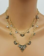 Alexis Bittar Mosaic Chain Link Multi Strand Necklace Pearl Crystal Ruthenium
