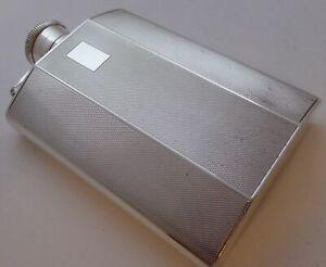 Birmingham 1939 Art Deco Solid Hallmarked Silver Hip Flask Sanders & Mackenzie