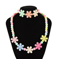 Colorful Beads Necklace&Bracelet Set Baby&Girls Flower Jewelry Good gifts BH P0C