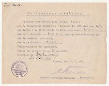 Entlassungs Ausweis 9 Rheinisches IR Nr. 160 Bonn 1919 Kommandeur Signatur ! (D8