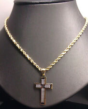 10K Yellow/White  Diamond Cuts Gold Jesus Cross Charm Pendent Men's/Women's