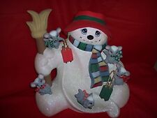 Ceramic Bisque Ready to Paint Snowman Hill with Sledding Mice