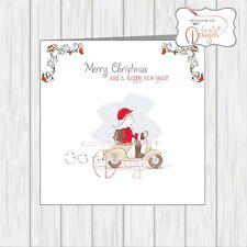 Scooter Christmas Card Santa With Xmas Tree Vespa Lammy Lambretta Wife Husband..