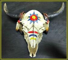 Western Cow Bull Skull Rustic Indian Native American Hanging Wall Sculpture Deco