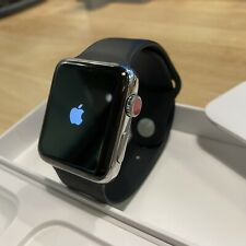 Apple Watch Series 3 42mm Stainless Steel (GPS + Cellular) with Black Sport Band