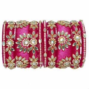 Lovely Pink Kundan Work Silk Thread Bracelet/ Bangles With Shine Chain,Pearls