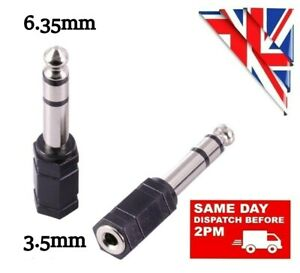 SMALL to BIG 3.5mm FEMALE to 6.35mm MALE AUX JACK PLUG AUDIO STEREO ADAPTER