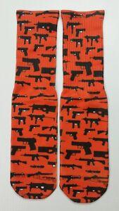 Custom Gun Print Red dry Fit socks gamma laney X XII 7s grey