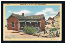 1940 linen view of Tom Kelley's 1905 Bottle House in Ghost City, Rhyolite NV