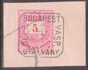 "HUNGARY  MAGYAR  Box   POSTMARK / CANCEL   ""BUDAPEST   DELK VASP  UTALVANY"""