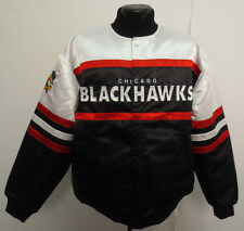 CHICAGO BLACKHAWKS LARGE JACKET SATIN NHL HOCKEY NEW MENS STITCH VINTAGE LOOK