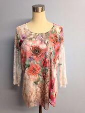 Brittany Black White Lace Blouse Floral Print - Size Petite XL (PXL)