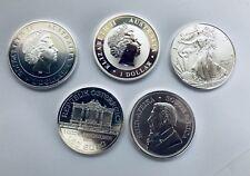 5x 1oz SILVER BULLION COINS USA EAGLE, OZ EAGLE, KRUGERRAND, KOALA, PHILARMONIKA