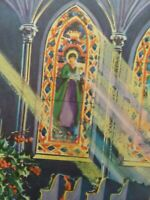 1940-50s Vtg CHURCH Sunbeams Pews Stained Glass Windows CHRISTMAS GREETING CARD