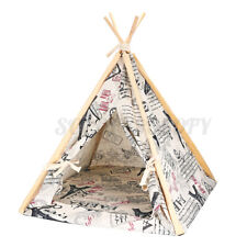 Folding Linen Pet Dog House Washable Tent Puppy Workout Teepee Mat Portable S