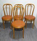 Vintage Set of 4 THONET Bentwood Dining Chairs Mid Century Modern Orange Vinyl