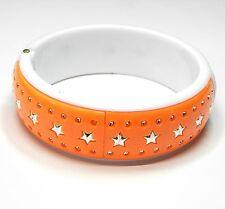 NEU 19cm ARMREIF in orange-weiß-silber ARMBAND Stern/Sterne ARMSPANGE
