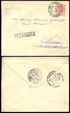 CZECHOSLOVAKIA 1897 AUSTRIA STATIONERY PRESSBURG + CESKA TREBOVA RAILWAY STATION