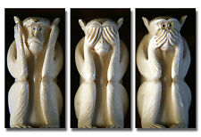 Three Wise Monkeys Canvas Print Wall Art Picture Large 38 x 24 inches