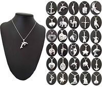 WOMENS 925 STERLING REAL SILVER HALLMARK CHARM PENDANT PROM PARTY BRIDAL JEWELRY