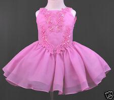 New  Infant Toddler & Girl Pageant Wedding Formal Short Dress Fuchsia size:1-7