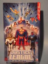 JUSTICE LEAGUE UNLIMITED SUPERMAN, AZTEK & SINESTRO THREE PACK! NM!