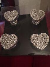 Heart Diamanté Furniture Knobs X 4 Sparkle Glitter BNIB