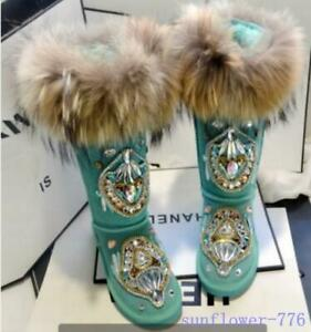 Wild Winter Deer Knitted Calf Snow Boots Women Ankle Plush Fur Lined Flat Shoes