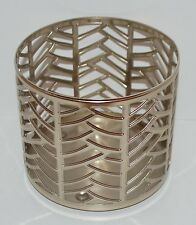 BATH & BODY WORKS CHAMPAGNE CHEVRONS LARGE 3 WICK CANDLE HOLDER SLEEVE 14.5 OZ